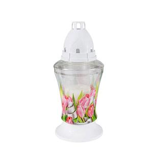 Candela din sticla cu lalea roz BO 3D LAL ROZ