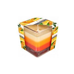 Lumanare parfumata in pahar in trei culori portocala snk80 x portocala