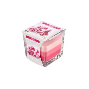 Lumanare parfumata in pahar in trei culori trandafir snk80 x trandafir