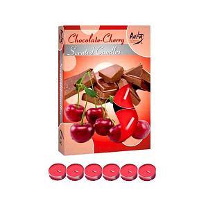 Lumanare pastila parfumata 6 bucset aroma ciocolata si cirese P15 xx ciocolata si cirese
