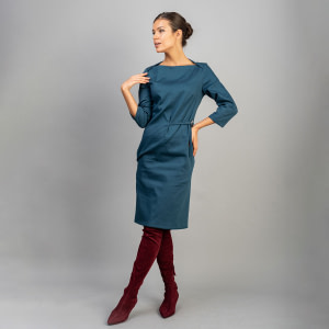 Rochie bumbac turquoise Lee1