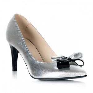 pantofi argintii cu funda chic s11 1