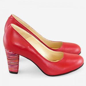 pantofi comozi din piele naturala rosie cherry stripes anafashion1 1
