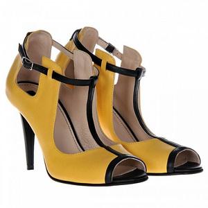 pantofi galbeni din piele zora s75 1