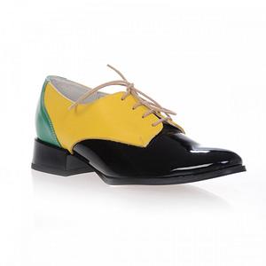 pantofi oxford combi galben negru