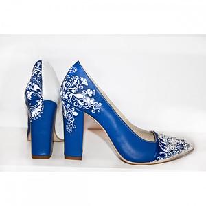 pantofi pictati manual blue stiletto c017 1