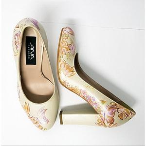 pantofi pictati manual flowers 1
