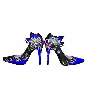 pantofi pictati manual fluturi colorati anafashion 1