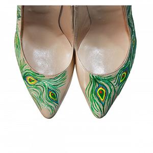 pantofi pictati manual pana de paun