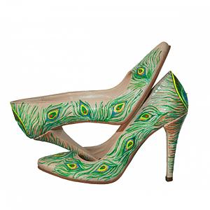 pantofi pictati manual piele naturala 1