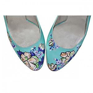 pantofi pictati manual turcoaz cu trandafiri 1