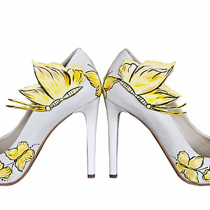 pantofi pictati yellow buterflly 1