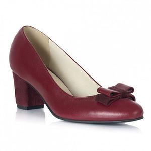 pantofi piele naturala bordo toc mic 1