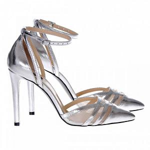 pantofi piele naturala lovely argintii s15 2
