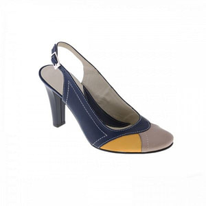 pantofi piele naturala madame decupat bleumarin galben