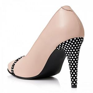 pantofi piele nude cu buline s101 1