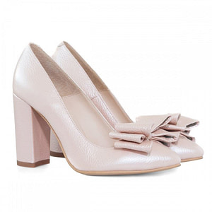 pantofi piele nude sidefat anafashion cu funda supradimensioanata 1
