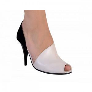 pantofi elegan piele naturala alb negru 220 ron