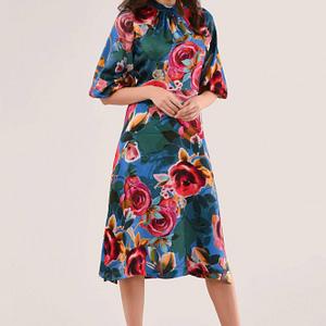 blue mix print a line dress roh dr4203 9494 1