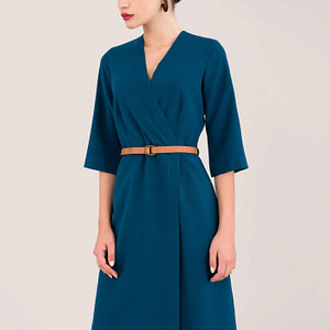 blue wrap dress with belt roh dr3917 8652 1