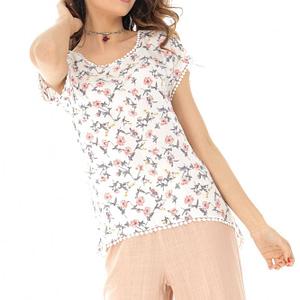 bluza alba cu imprimeu floral cu maneca scurta roh br2064 8210 1