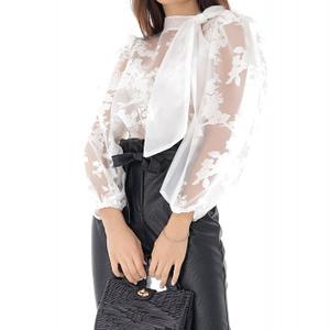 bluza alba din dantela cu funda white roh br2246 9110 1