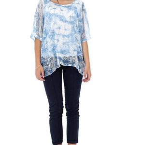bluza albastra roh cu imprimeu br1845 7337 1