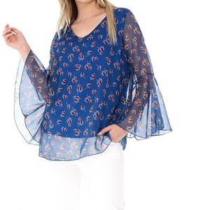 bluza albastra roh cu imprimeu frunze br1778 7078 1