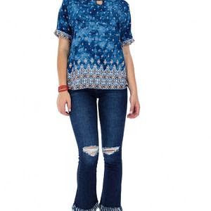 bluza albastra roh cu slit la gat br1838 7321 1