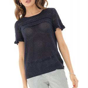 bluza bleumarin crosetata cu maneci scurte roh br2066 8212 1