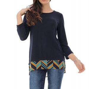 bluza bleumarin fin tricolata cu contrast la tiv roh br2256 9150 1