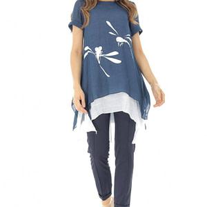 bluza bleumarin pictata cu dublura alba roh br2106 8442 1