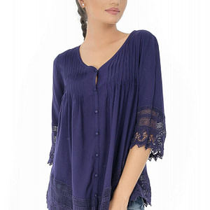 bluza bleumarin roh cu maneci crosetate br1833 7301 1