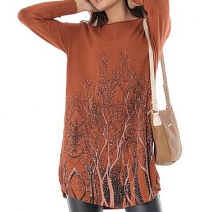 bluza caramizie larga cu un print deosebit roh br2224 9047 1