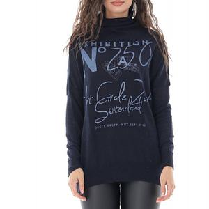bluza cu guler inalt si inscriptii in contrast bleumarin roh br2379 9672 1