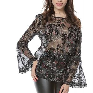 bluza din voal neagra cu imprimeu floral roh br2093 8306 1