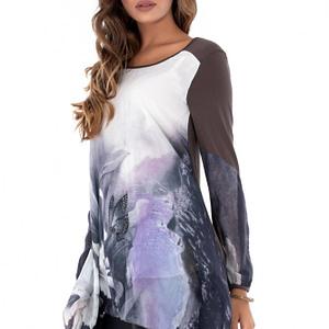 bluza gri roh cu imprimeu floral dr3620 7609 1