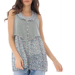 bluza imprimata floral cu guler gri roh br2287 9443 1