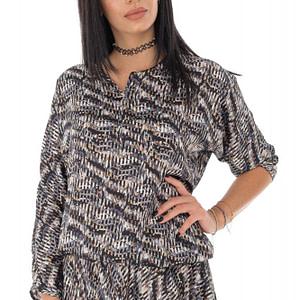bluza lejera din satin gri roh br2315 9440 1