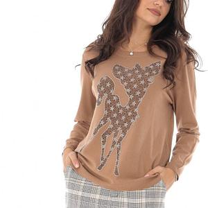 bluza maro bambi cu aplicatii stralucitoare roh br2204 8912 1