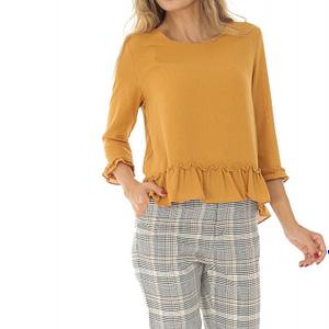 bluza mustar cu nasturi la spate roh br2129 8577 1