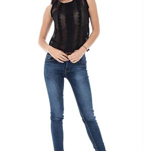 bluza neagra accesorizata cu broderie br1301 5306 1