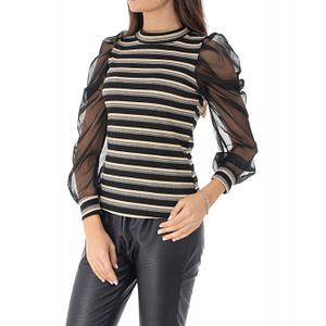 bluza neagra cu dungi multicolore si maneci pufante roh br2223 9045 1
