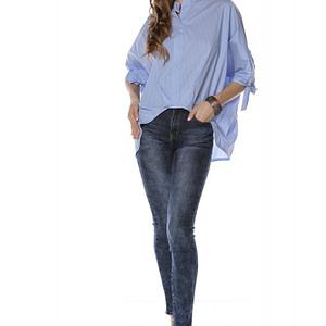 bluza stil camasa albastra cu dungi albe roh br2047 8107 1
