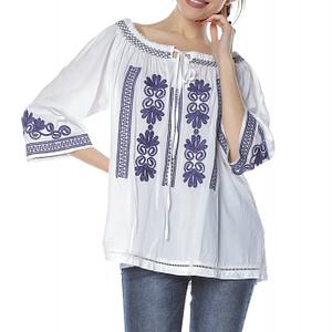 bluza stil ie alba cu broderie albastra roh br2096 8311 1