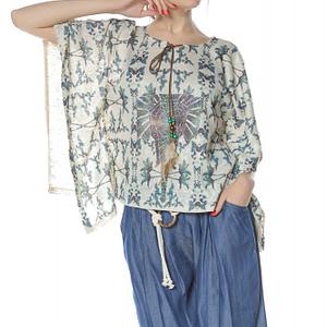 bluza stil poncho crem cu imprimeu elefant br2094 8307 1