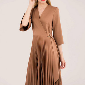 brown pleated wrap dress with asymmetrical tie roh dr3940 8716 1