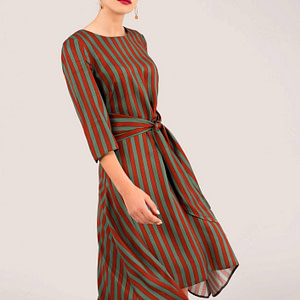 brown striped hanky hem dress with tie roh dr3930 8687 1