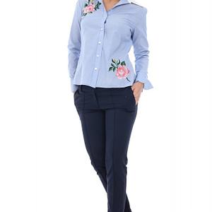 camasa albastra cu broderie doua flori br1234 5213 1