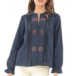 camasa bleumarin casual cu broderie colorata roh br2080 8249 1